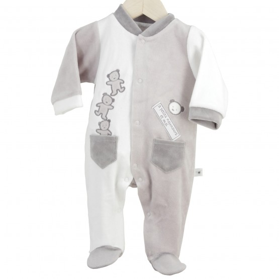 "Newborn sleepsuit ""3 little teddy bears and I"""