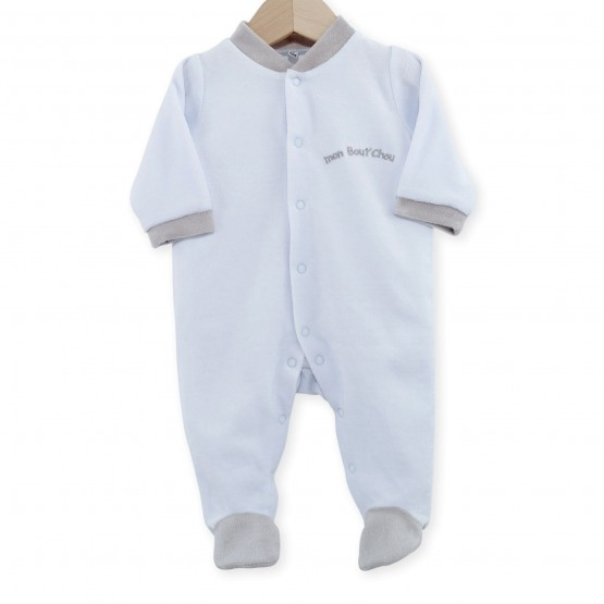 "Newborn sleepsuit in sky blue velvet ""My Little Darling"""