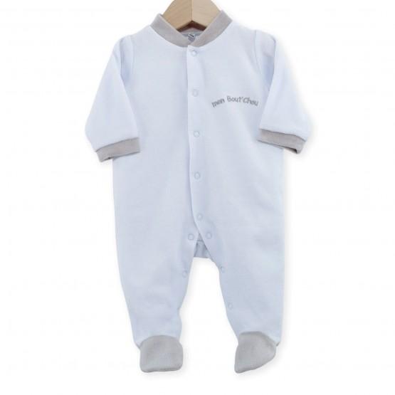 """Pyjama naissance en velours bleu ciel """"mon bout de chou"""""""