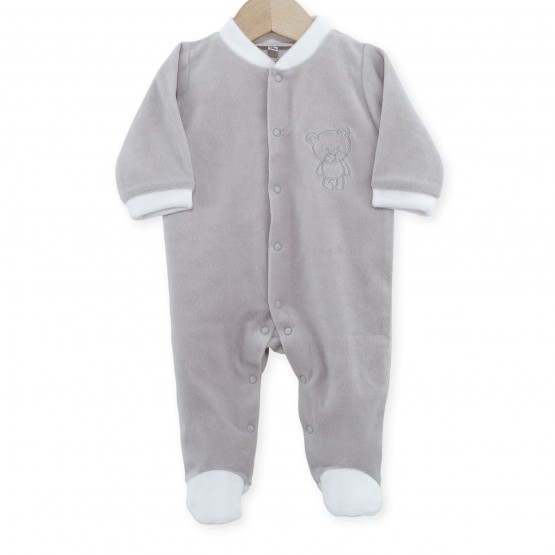 "Newborn sleepsuit in grey velvet ""Teddy Bear"""