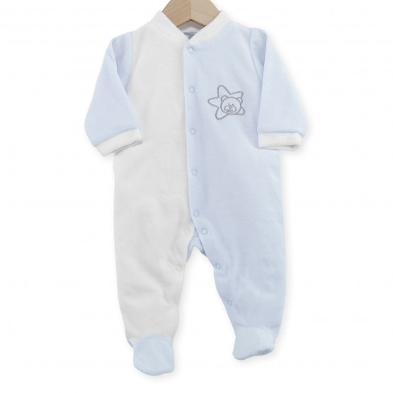 "Newborn sleepsuit in white/sky blue velvet ""Teddy Bear"""