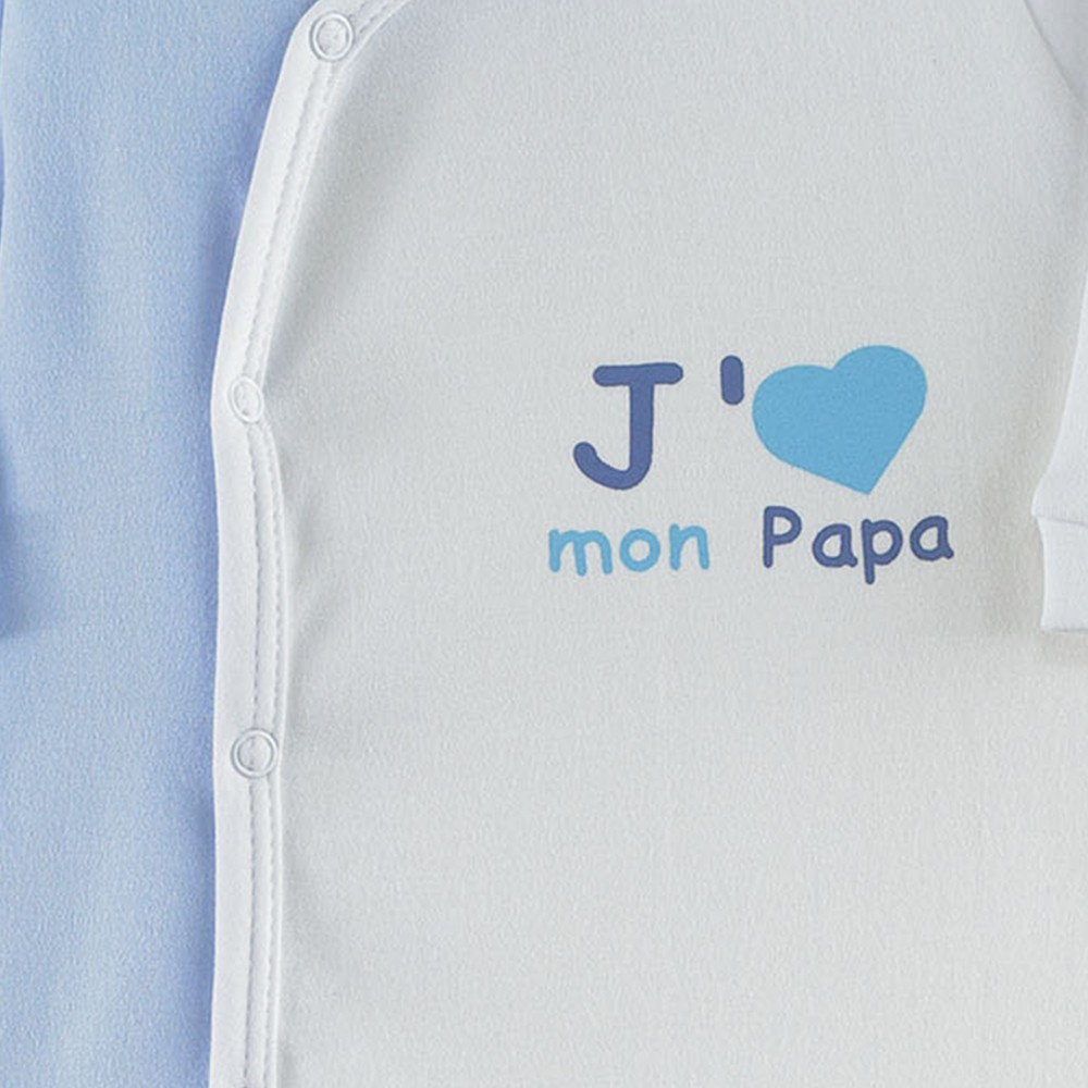 pyjama dors bien b b gar on en interlock bleu ciel t kinousses. Black Bedroom Furniture Sets. Home Design Ideas