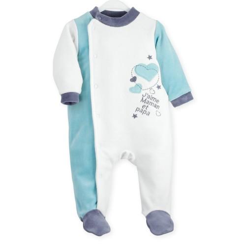 "Pyjama bébé garçon ""J'aime papa et maman"""