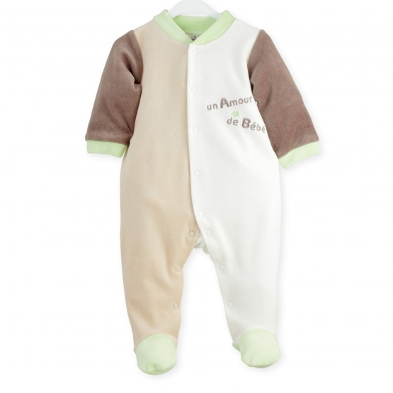 pyjama naissance b b mixte choco blanc pas cher kinousses kinousses. Black Bedroom Furniture Sets. Home Design Ideas