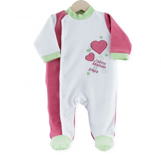 "Baby girl sleepsuit ""I love mummy and daddy"""