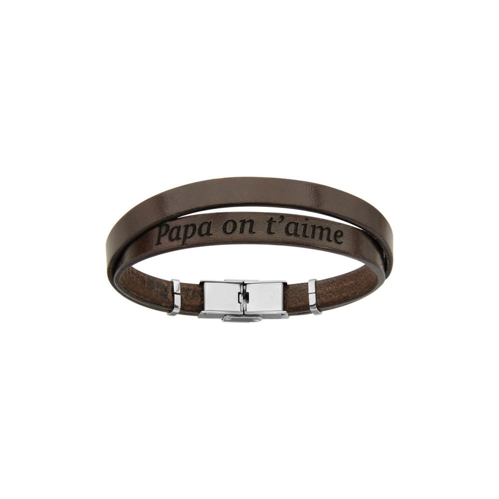 bijoux bracelet cuir et acier homme papa on t 39 aime kinousses. Black Bedroom Furniture Sets. Home Design Ideas