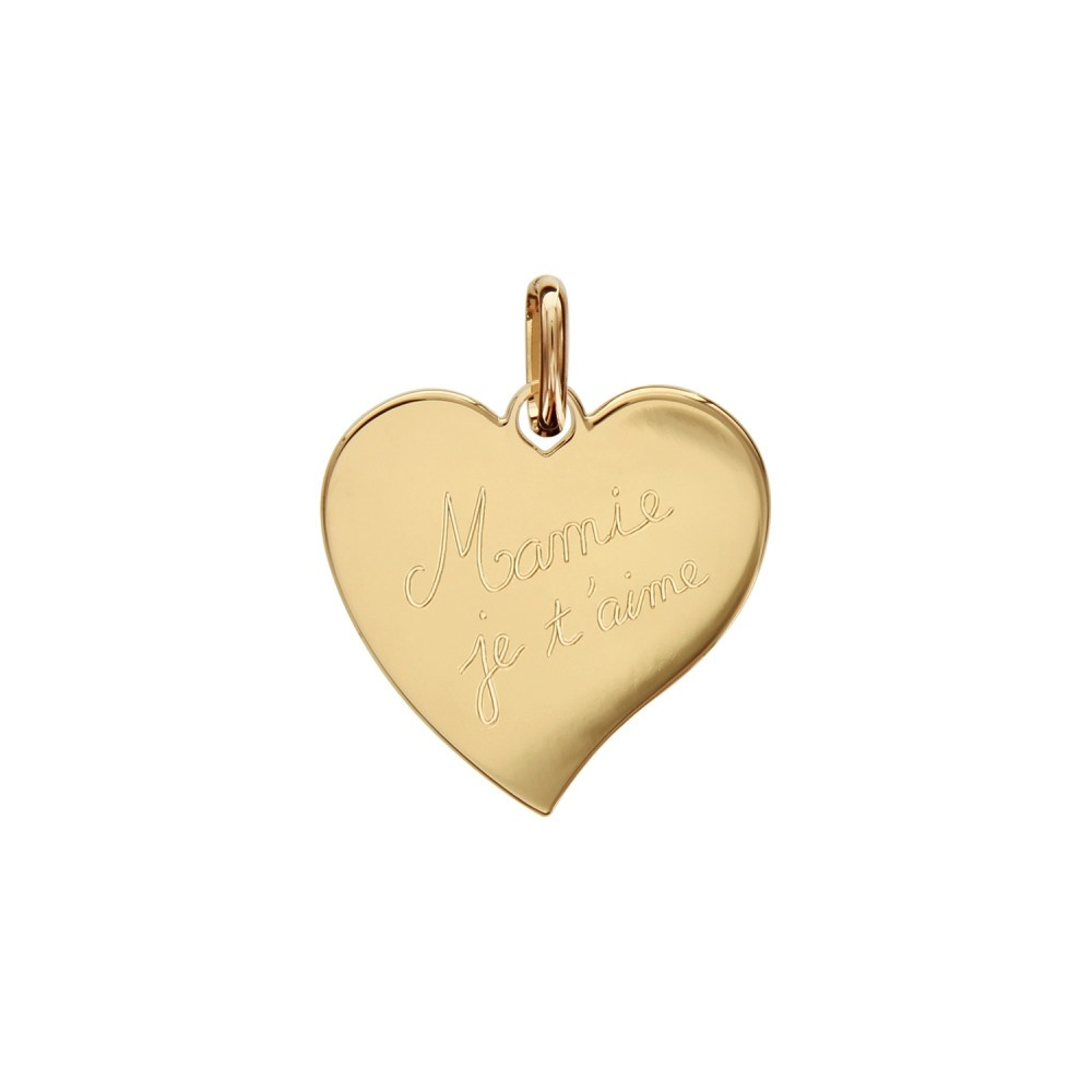 """Engraved Heart Pendant in gold plating """"Mum we love you"""""""