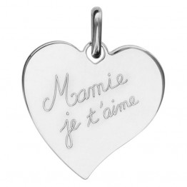 """Engraved Heart Pendant in Silver """"Granny we love you"""""""