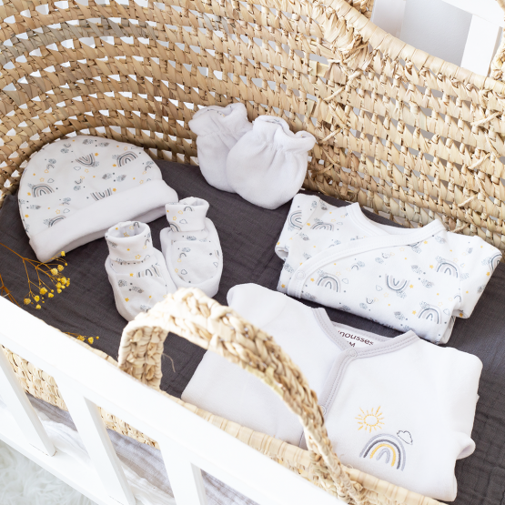 Corredo neonato - Arcobaleno bianco/grigio (6 pezzi)