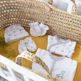 Corredo neonato – giungla bianco/grigio (6 pezzi)