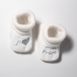 """Pair of baby booties """"I Love my brother """""""