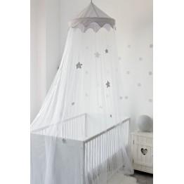 Ciel de lit bébé - Etoiles grises