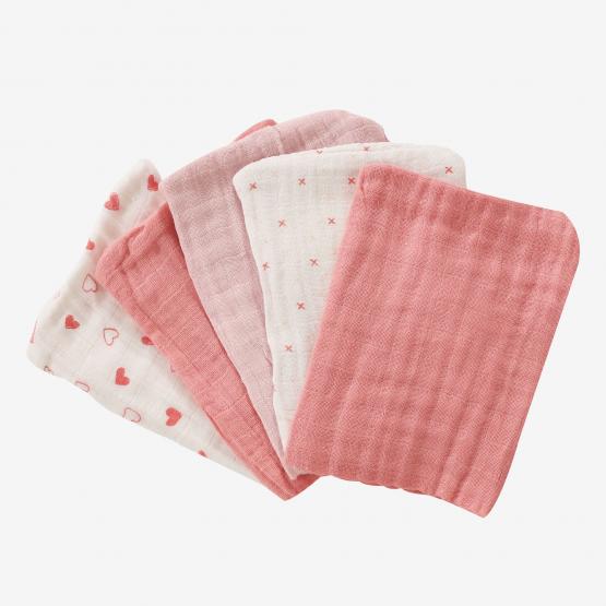 5 gants en mousseline 100%coton - rose