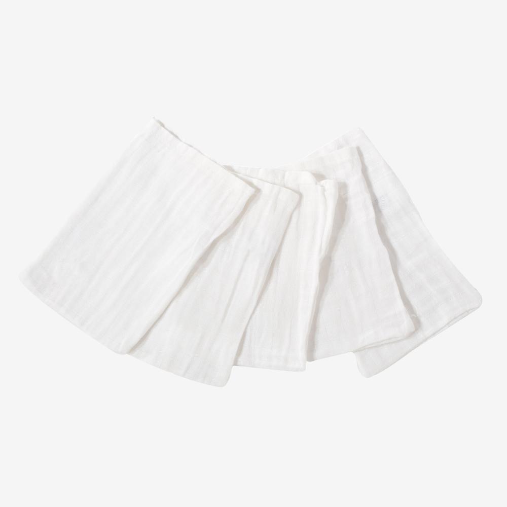 5 gants de toilette bébé en mousseline de coton - blanc