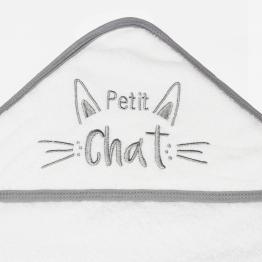 Baby bathing cape + face flannel - Kitten