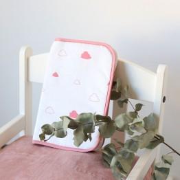 Protège carnet de santé - zippé - Nuages roses