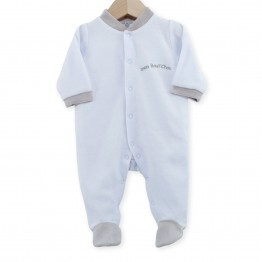 "Newborn sleepsuit in sky blue velvet ""My Little Darling"""