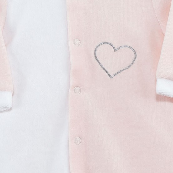 "Newborn sleepsuit in white/pink velvet ""Heart"""
