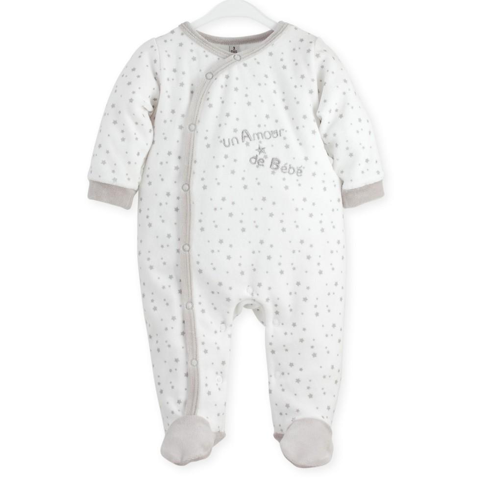 """Pyjama naissance en velours blanc/gris """"Mon Ptit Ange"""""""