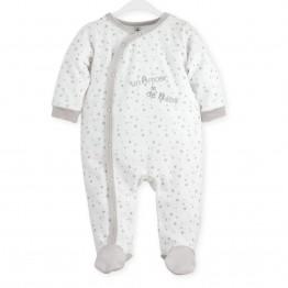 "Pyjama naissance blanc étoilé ""Un amour de bébé"""