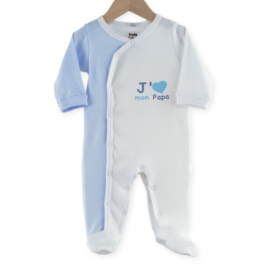 "Pyjama bébé garçon coton "" J'aime mon papa"""