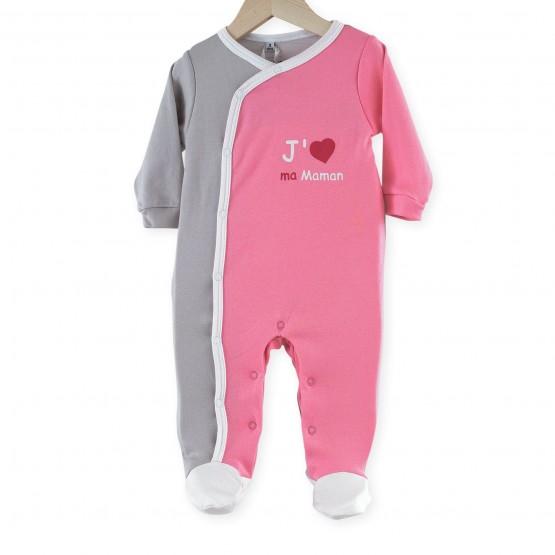 "Pyjama bébé fille coton ""J'aime ma Maman"""
