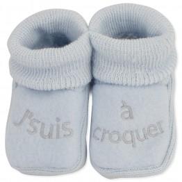 """Lot de 2 paires de chaussons bébé """"J'suis à croquer"""""""