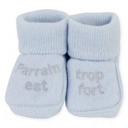 """1 paire de chaussons """"Parrain est trop fort"""""""