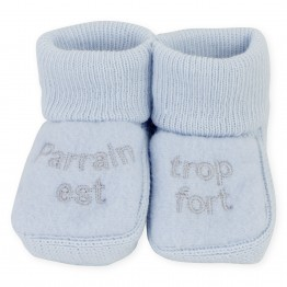 "Pair of baby boy booties ""Godfather is so strong"""