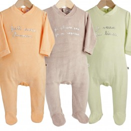 Lot de 3 pyjamas bébé velours