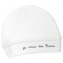 Bonnet naissance blanc en velours - Bisous