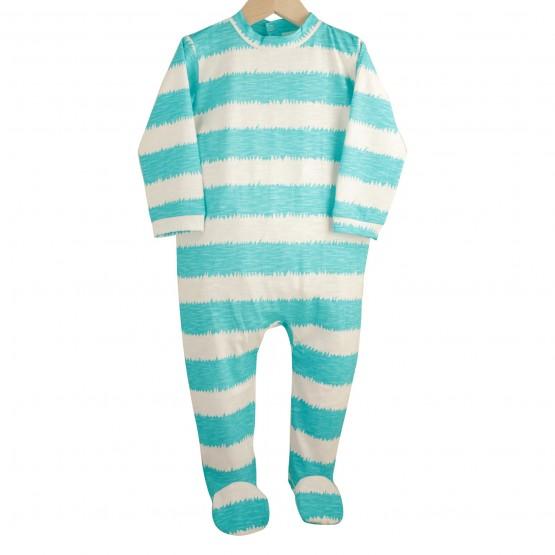 """Pyjama bébé coton """"Rayures"""" Bleu Turquoise"""
