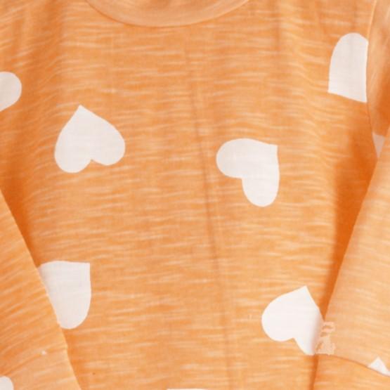 """Pyjama bébé fille coton """"Coeur"""" Orange"""