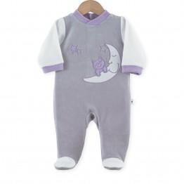 """Pijama bebé de menina em veludo """"Gatos nas estrelas"""""""""""