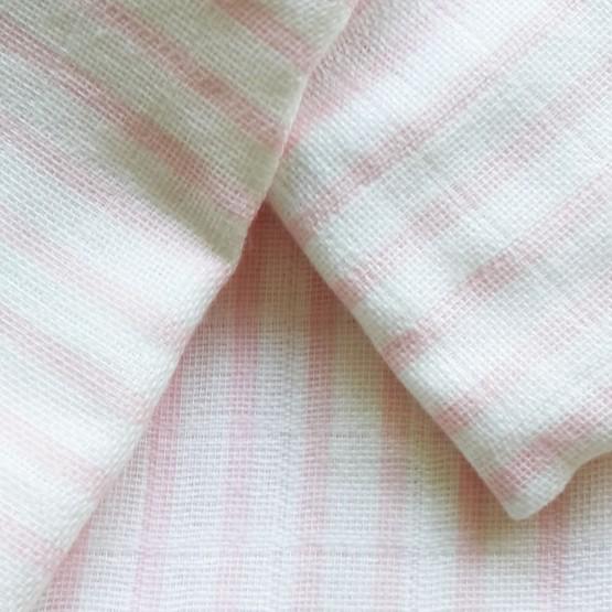 Lot de 3 gigoteuses été 100% coton 65cms - rayures rose