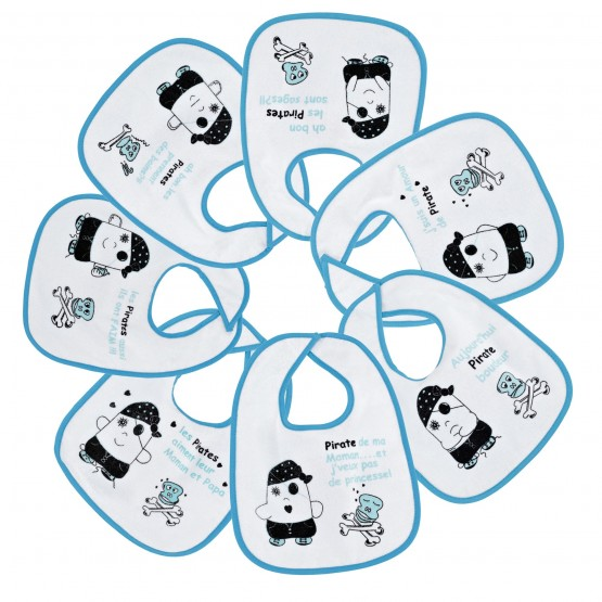 """Pack of 7 baby boys bibs - """"Pirates"""""""