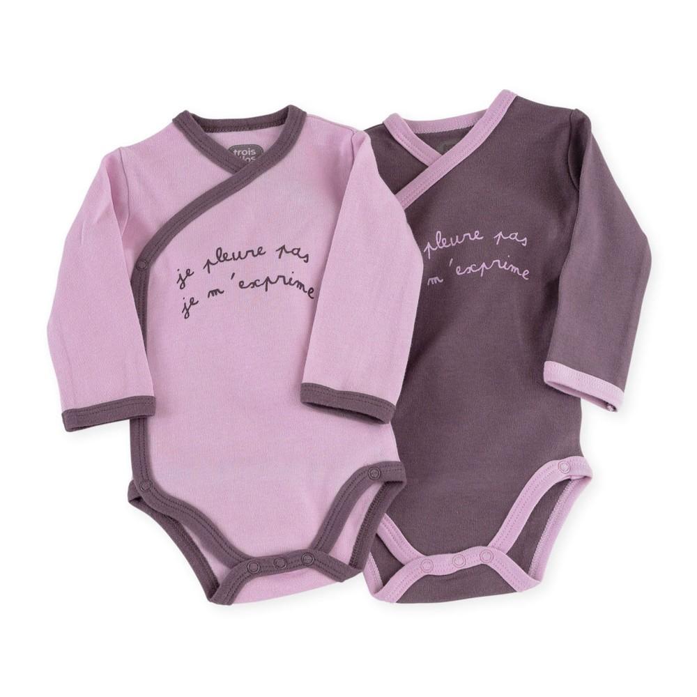 lot de 2 bodies b b fille en coton violet kinousses. Black Bedroom Furniture Sets. Home Design Ideas