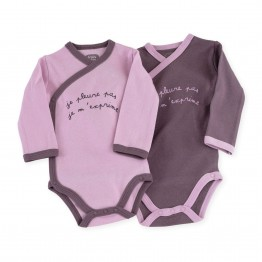 "Body naissance fille (lot de 2) ""Je m'exprime"""