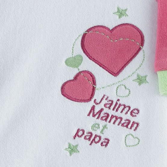 "Pyjama naissance fille ""J'aime Maman & Papa"""