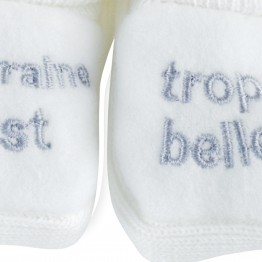 "Pair of baby girl booties ""Godmother is so beautiful"""