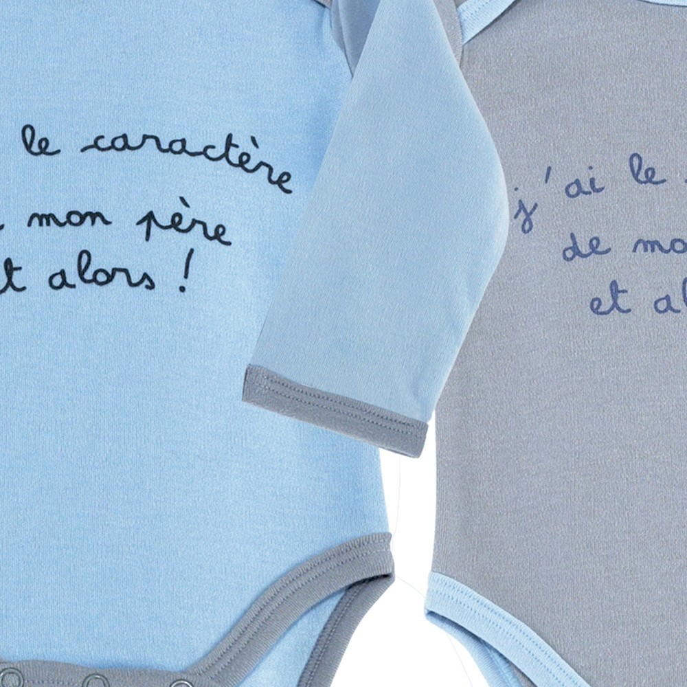 Bodies b b gar on gris et bleu lot de 2 en coton - Lot body bebe ...