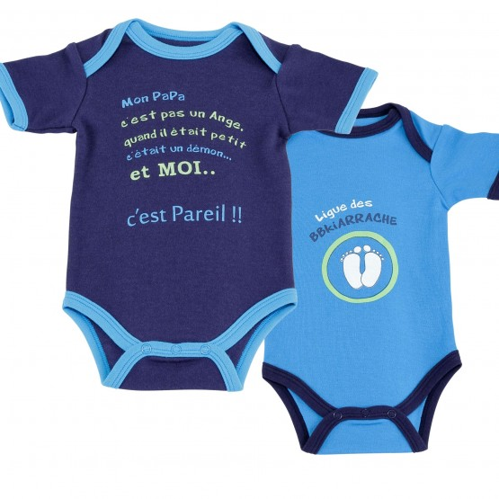 """Lot de 2 bodies bébé garçon """"Petit Démon"""""""