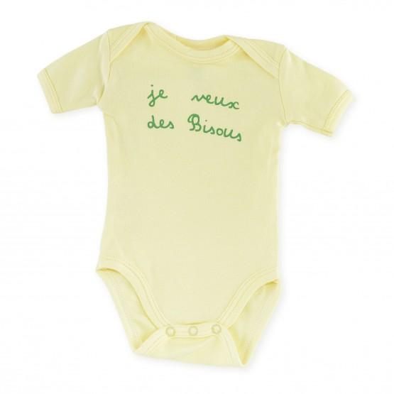 """Lot de 2 bodies bébé été """"Je veux des bisous"""""""