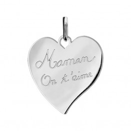 "Engraved Heart Pendant in Silver ""Mum We love You"""