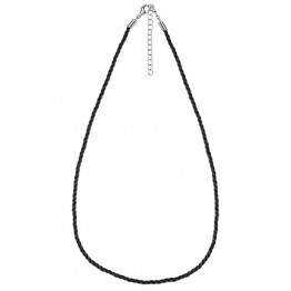 Collier en cordon tressé noir - 42 cm