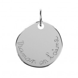 "Engraved Pebble Stone Pendant in Silver ""Mum we love you"""