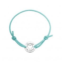 """Bracelet cordon turquoise avec médaillon """"Maman on t'aime"""""""