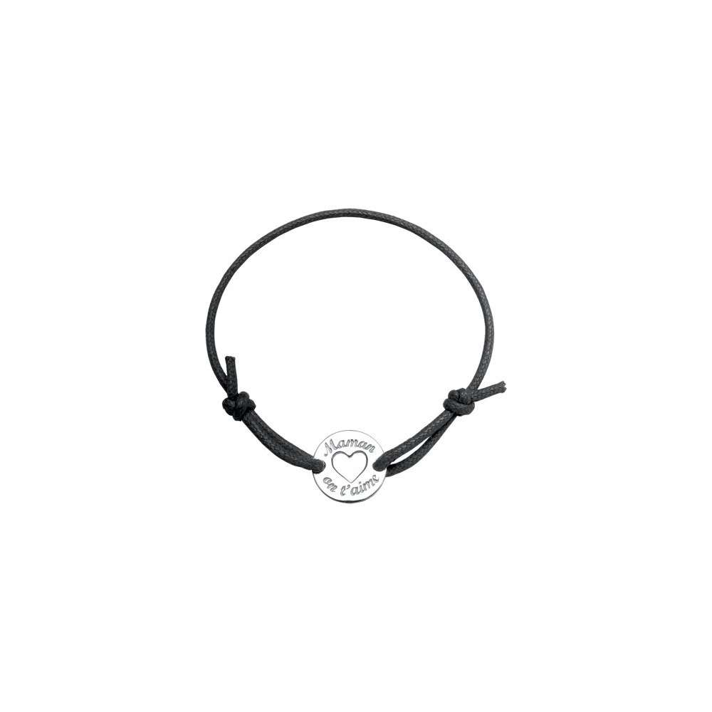 """Bracelet cordon coulissant turquoise avec médaillon """"Maman on t'aime"""""""