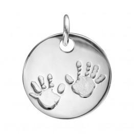 """Ciondolo d'argento con incisione """"Impronte mani bebè"""""""