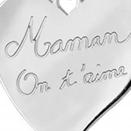 """Pendentif argent gravé """"MAMAN ON T'AIME"""""""